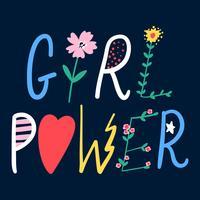Typographie avec fleur vecteur