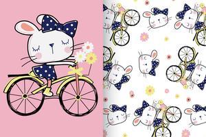 Motif dessiné à la main de lapin sur le vélo vecteur