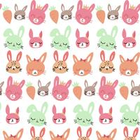 Motif de lapin et carotte bébé dessiné à la main