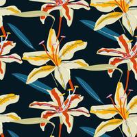 Motif floral de lys tigre audacieux dessiné à la main vecteur