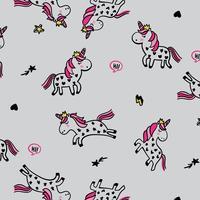 Fond de licorne dessiné main avec étoiles et coeurs
