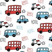 Modèle de bus et de voiture dessiné à la main vecteur