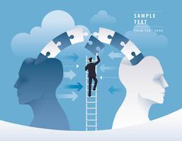 Homme d'affaires grimpant à l'échelle pour pousser des pièces de puzzle ensemble