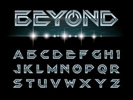 Alphabet et police futuriste vecteur