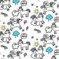 Licornes de dessin animé dessinés à la main avec fond mot bulles
