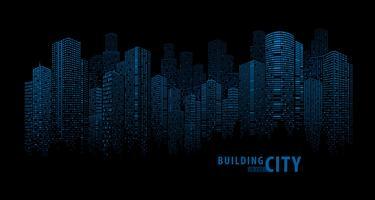 Pano Building abstrait bleu