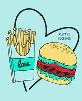 Illustration de burger et frites dessinés à la main vecteur