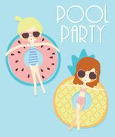 Main dessinée filles mignonnes en illustration de flotteurs de piscine vecteur