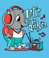 Illustration d'éléphant dansant mignon dessiné à la main vecteur