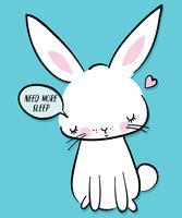 Illustration de lapin fatigué dessiné à la main vecteur