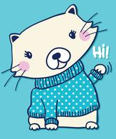 Main dessinée chat mignon agitant Salut illustration vecteur