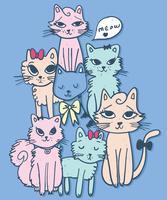 Dessinés à la main ensemble mignon d'illustration de chats