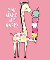 Main dessinée girafe mignonne avec illustration de la crème glacée vecteur