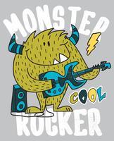 Monstre cool dessiné main avec illustration de la guitare vecteur