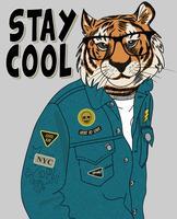 Tigre cool dessinés à la main avec illustration de veste et lunettes vecteur