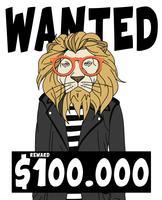 Lion cool dessiné à la main voulait illustration affiche vecteur