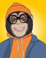 Illustration de singe souriant cool dessiné à la main