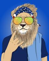Main dessinée lion cool avec illustration de bandana vecteur