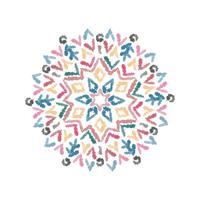 Modèle de mandala dessiné main abstraite avec pinceau aquarelle. vecteur