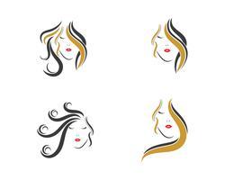 jeu d'icônes de cheveux femme vecteur