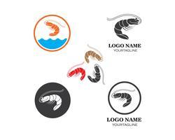 conception de jeu d'icônes de crevettes vecteur