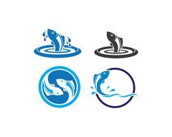 Jeu d'icônes de poisson abstrait vecteur