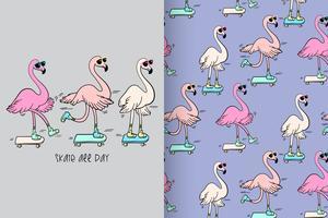 Motif Flamingo dessiné à la main toute la journée, skate vecteur