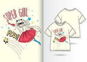 Conception de t-shirt super fille dessiné à la main vecteur