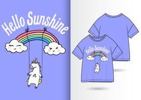 conception de t-shirt arc-en-ciel licorne vecteur