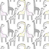 Motif girafe ligne noire dessiné à la main vecteur