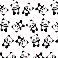 Modèle de panda heureux dessiné à la main vecteur