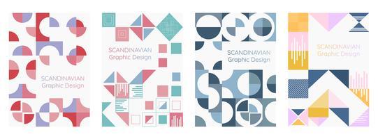 Ensemble d'affiches de style moderne géométrie scandinave vecteur