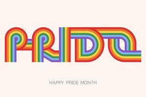 Illustration du mois de la fierté LGBT avec typographie vecteur