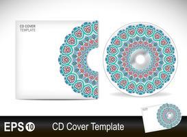 Modèle de conception de couverture de CD en style ethnique vecteur