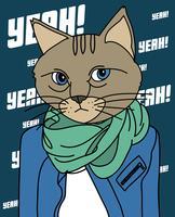 Ouais chat cool vecteur