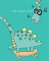 Mon dinosaure mon long cou ami vecteur