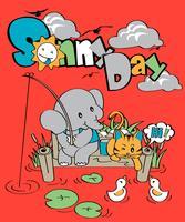 Journée ensoleillée d'éléphant vecteur