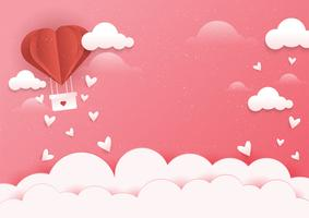 Scène de montgolfière coeur vecteur