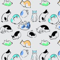 Dessinés à la main, contour délicat des chats, roulement et sommeil