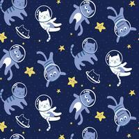Chats dessinés à la main dans le motif de l'espace