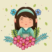 Kawaii, fille japonaise souriante avec personnage de fleurs