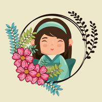 kawaii fille avec caractère de fleurs