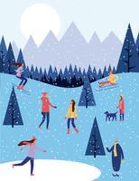 personnes vacances d'hiver vecteur