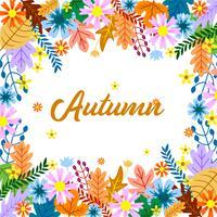 Conception de cadre floral automne avec feuille colorée vecteur