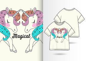 T-shirt dessiné à la main, paire de licorne magique vecteur