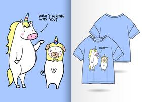 Conception drôle de Tshirt dessiné par main de licorne vecteur