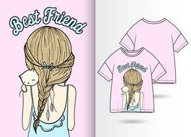 Design du t-shirt dessiné à la main de Best Friend Cat vecteur