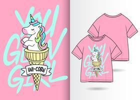 Vous allez fille dessiné à la main Licorne Design Tshirt vecteur