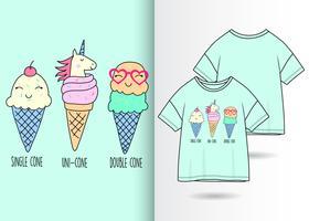 Main dessiné crème glacée avec la conception de t-shirt vecteur