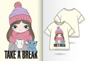 Prenez une pause dessiné à la main T-shirt Design vecteur